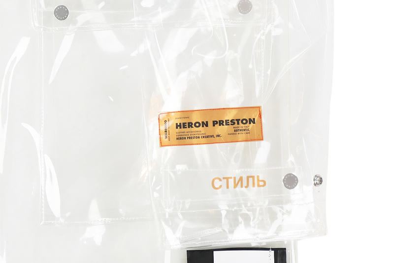 Heron Preston PVC Transparent Raincoat Virgil Abloh Nubian Streetwear Release Details How to Buy Purchase Cop Closer Look Great White Heron Bird John James Audubon