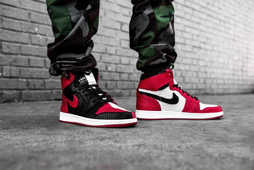"The Shoe Surgeon ""Homage to Home"" Custom Air Jordan 1 black read Chicago python pay homage"