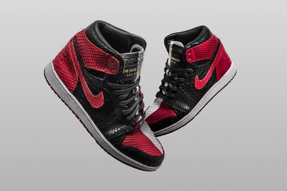 "The Shoe Surgeon ""Homage to Home"" Custom Air Jordan 1 black read Chicago python pay homage"