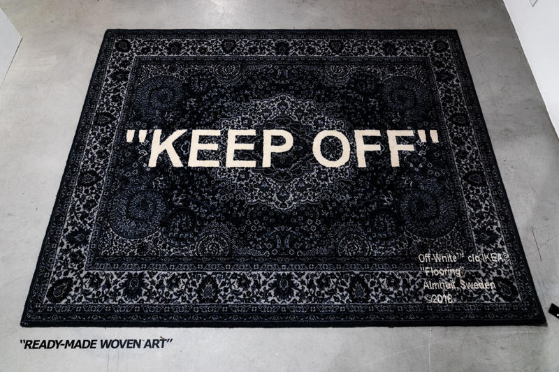 Virgil Abloh x IKEA Off-White Collection BLUE RED Rug KEEP OFF SCULPTURE bag doorstopper