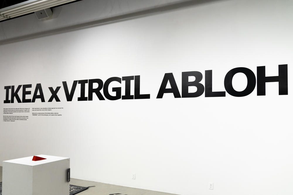 Virgil Abloh x IKEA Off-White Collection BLUE RED Rug KEEP OFF SCULPTURE bag doorstopper