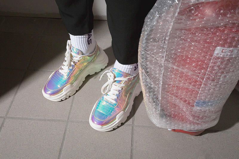 "JOSHUA SANDERS Holographic ""Zenith"" Sneaker Black White Light Holo Crash Holo Flirt Grey Jersey Colorways Chunky Sneaker Trend"