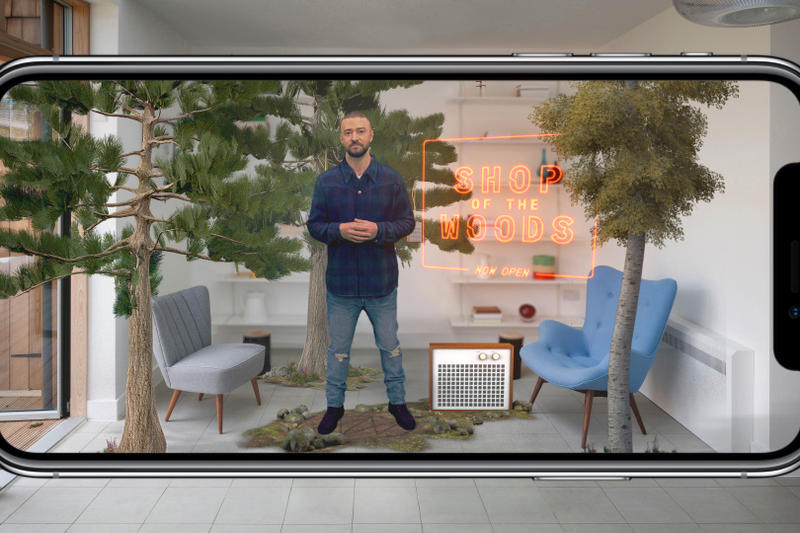 Justin Timberlake OUTSIDE IN AR Merch App man of the woods heron preston american express