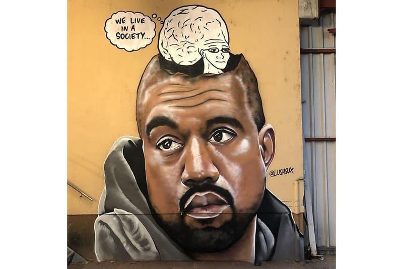 kanye west big brain meme mural lushsux linz austria mural harbor