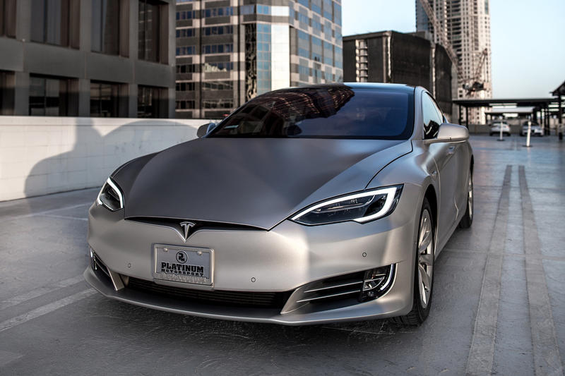 Kim Kanye Custom Tesla Model S kardashian west platinum motorsport pantone matte silver group