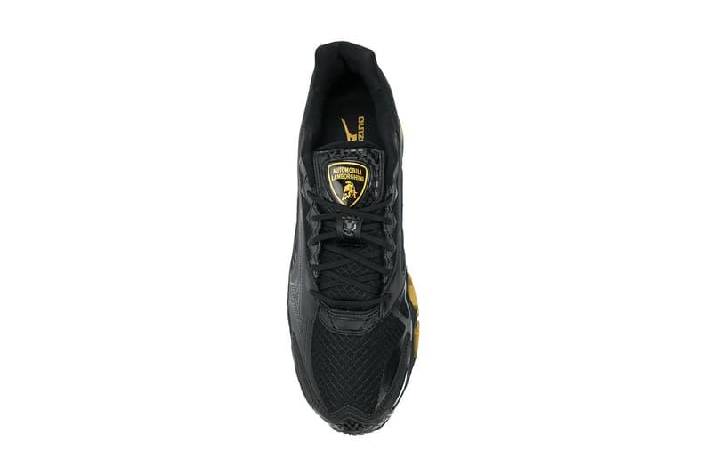 Lamborghini Mizuno Wave Tenjin 3 carbon fiber running sneaker shoe black gold branding logo 2018