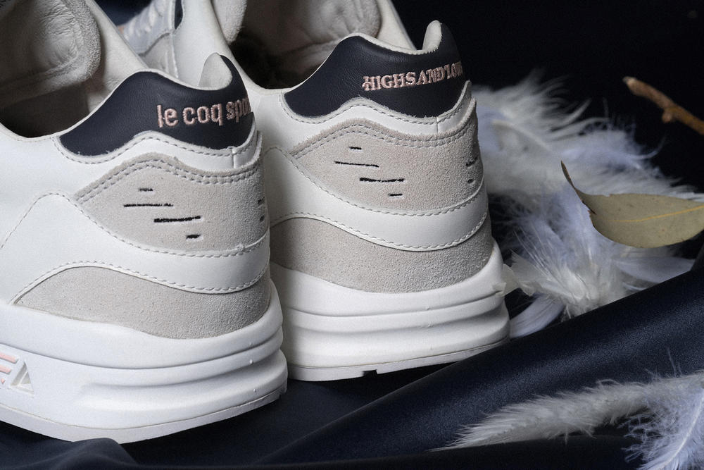 Le Coq Sportif Highs and Lows Collaboration Kicks Sneakers Trainers Shoes Closer Look Pink Grey Navy Colorway Swans LCS R 1000