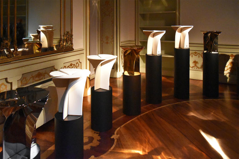 Louis Vuitton Blossom Stool Tokujin Yoshioka milano design week furniture seat chair silver gold champagne metal