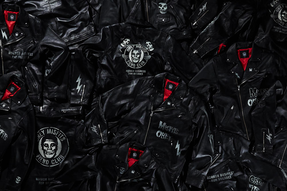OBEY misfits collaboration capsule collection drop april 13 2018 custom 17 skate deck jacket shirt hoodie