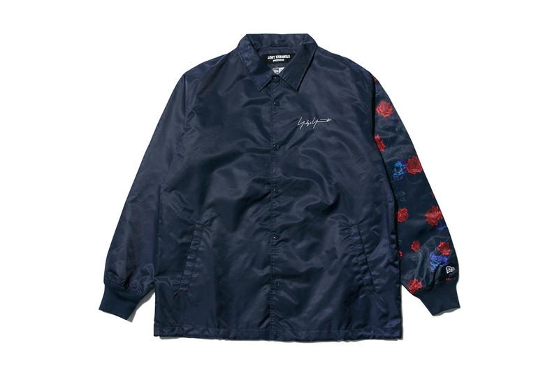 Yohji Yamamoto New Era spring summer 2018 collaboration collection line drop release japan hat coaches jacket hoodie tee shirt floral flower black navy branding logo april 18