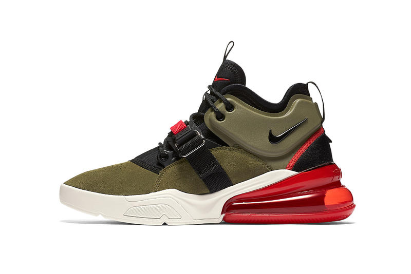 c16a36e66a Nike Air Force 270 Medium Olive black challenge red white april 13 2018  release date info