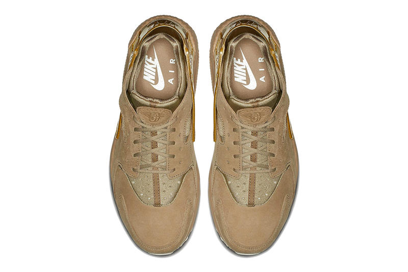 buy online 06b54 30315 Nike Air Huarache Gold Rush Release info suede metallic gold khaki footwear  sneakers