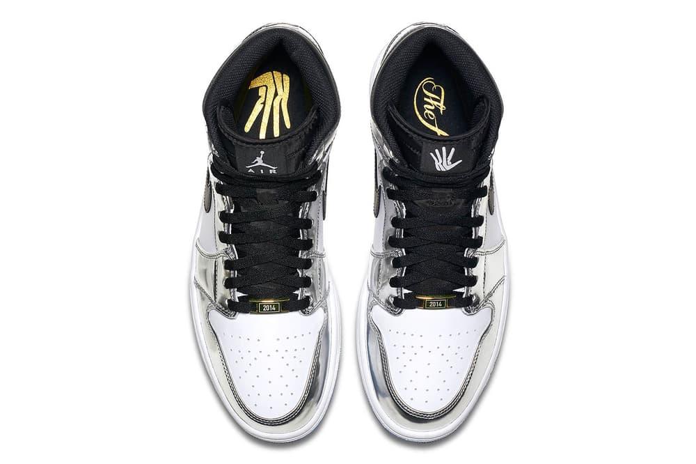 Nike Air Jordan 1 Retro High x Kawhi Leonard Sneakers Kicks Trainers Shoes Closer Look Silver Black White Blue Colorway Basketball 2014 MVP