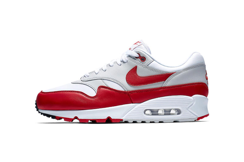 the latest db02e 2bb48 Nike Air Max 90 1 Hybrid model clean White and Red spring drops sneakers  shoes