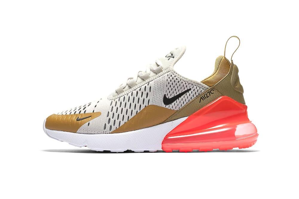 Nike Air Max 270 Flight Gold Black Light Bone White Hot Punch May 3 2018 release date info drop sneakers shoes footwear AH6789 700