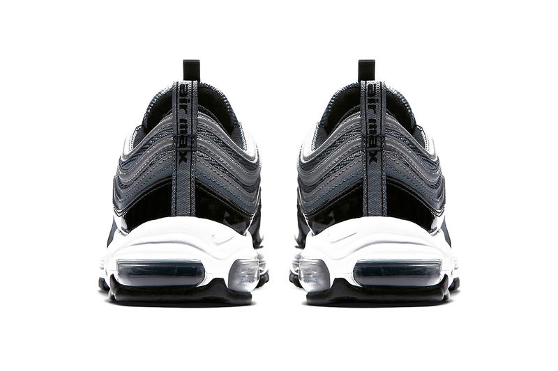 Nike Air Max 97 Black Patent Leather release info reflective grey silver footwear sneakers
