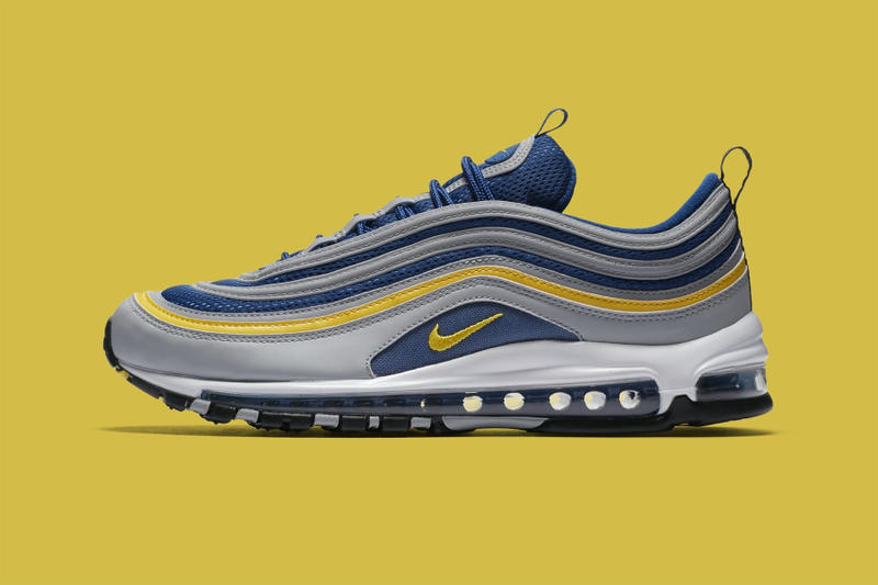 Nike air max 97 wolf grey tour yellow gym blue Michigan release info drop date purchase price footwear 2018
