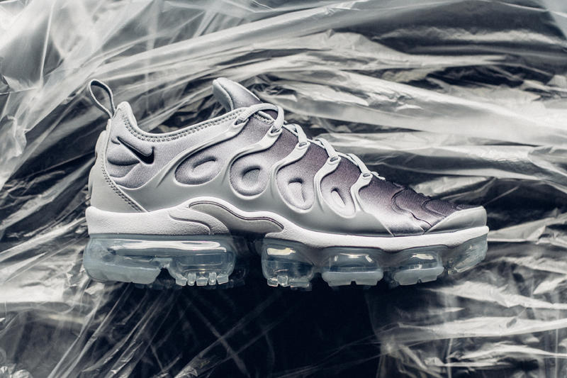 f5813f323e Nike Air VaporMax Plus Wolf Grey colorway release info drop date April 26  2018 sneaker purchase. 1 of 4