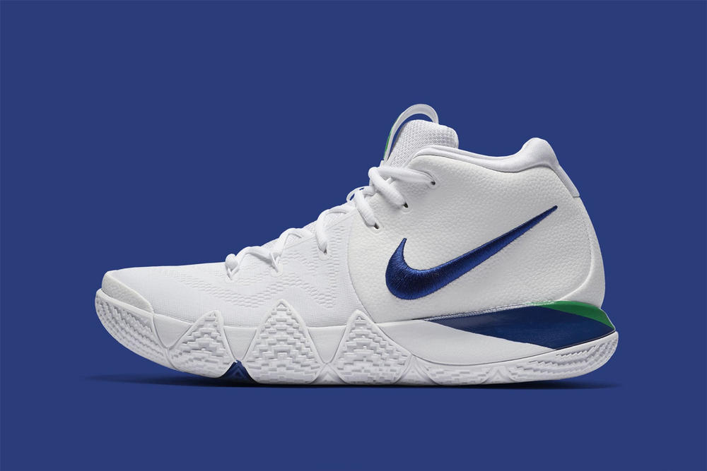 Nike Kyrie 4 white deep royal blue footwear april 2018 kyrie irving nike basketball release date info sneakers shoes