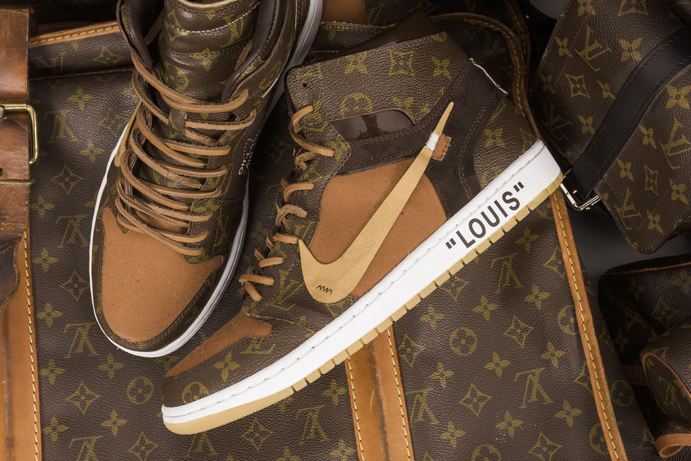 Nike x Off-White x Louis Vuitton Air Jordan 1 Customs Monogram $4000 USD Virgil Abloh CeezeMC Relevant Customs release details 1 of 10 sneakers footwear how to buy information