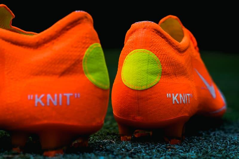 Virgil Abloh Nike Mercurial Vapor 360 closer look footwear 2018 orange white blue off white