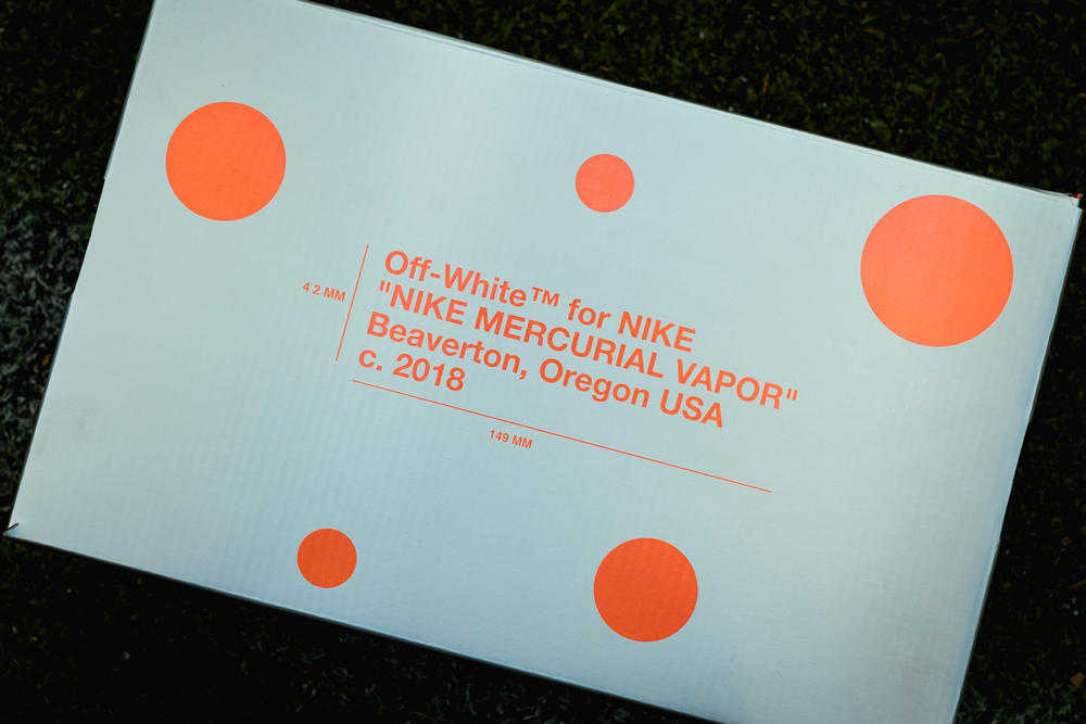 Virgil Abloh Nike Mercurial Vapor 360 closer look footwear 2018 orange white blue off white