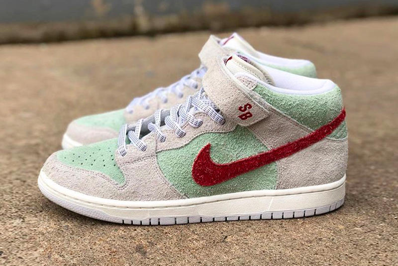 newest 4c1e7 abbba Nike SB Dunk Mid White Widow release info sail green red sneakers footwear