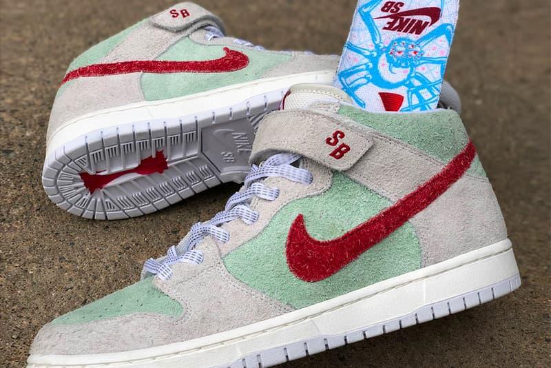 Nike SB Dunk Mid White Widow release info sail green red sneakers footwear