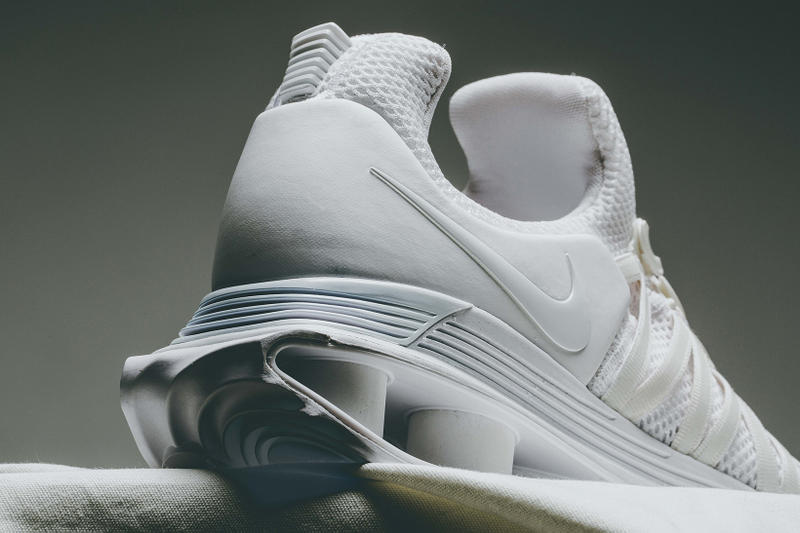 Nike Shox Gravity Triple White Colorway Clean Monochrome Invincible how to buy cop purchase sneakers trainer 2000s footwear style