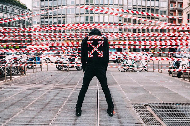 "Off-White ""Barricade Tape"" Taipei Exclusive Collection Store Hoodie Clothing Jacket Shirt Jeans Virgil Abloh Sweatshirt For Sale Pricing Availability"