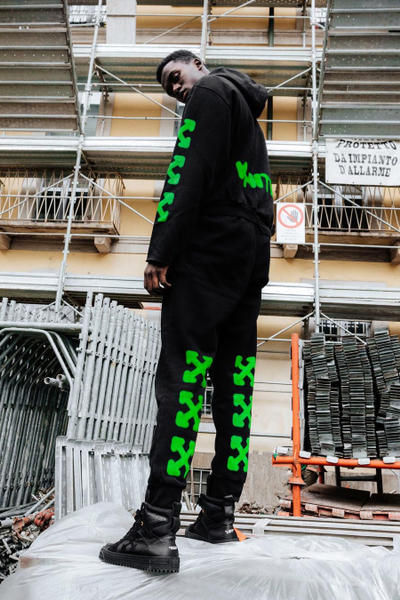 Off-White Exclusive Release Australia Black Green Tracksuits Hoodie Bottoms information details Melbourne Sydney Virgil Abloh Clothing buy purchase