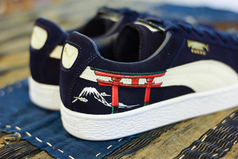 PUMA Suede Ukiyo-E Custom the flyinghawk studio simple union Sakura  Dairin-style Torii japan blue