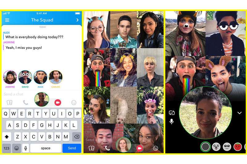 Snapchat Group Video Chat friend tagging stories april 3 2018 snap inc