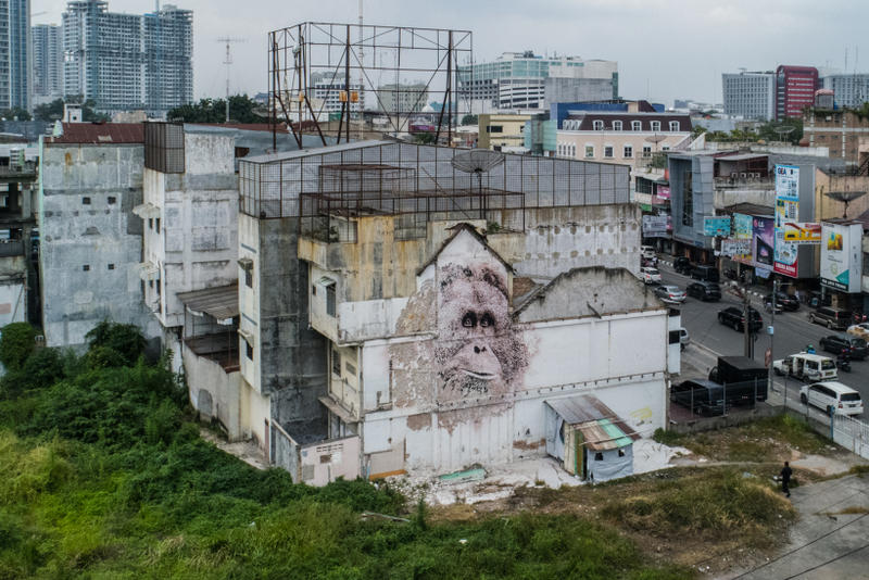 splash and burn vhils mural project campaign street art artwork