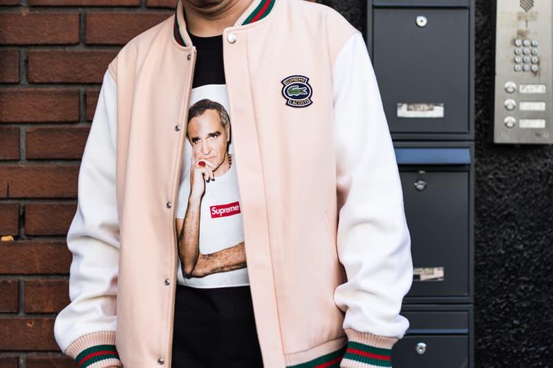 Supreme Lacoste Spring/Summer 2018 Street Style Street Snaps Soho London New York Stores Retail Velour Clothing