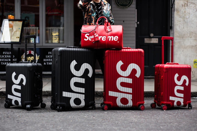 Supreme RIMOWA Spring/Summer 2018 Street Style Streetsnaps Suitcase Luggage Accessories Clothing For Sale London New York Topas Multiwheel 45L 82L