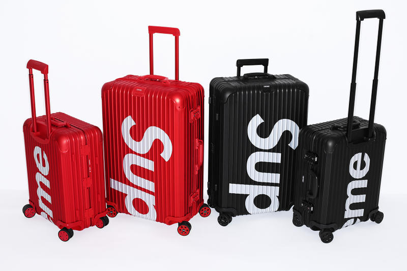 8bd1f8cbe0b In 45L and 82L sizes. Supreme x RIMOWA Topas Multiwheel Collection Black  Red Logo Metallic Suitcase Metal Aluminum