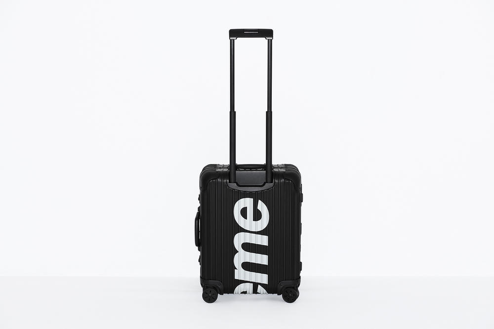 Supreme x RIMOWA Topas Multiwheel Collection Black Red Logo Metallic Suitcase Metal Aluminum