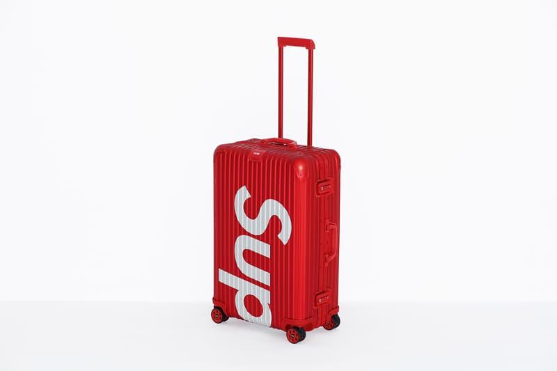 Supreme x RIMOWA Topas Multiwheel Collection Black Red Logo Metallic Suitcase Metal Aluminum