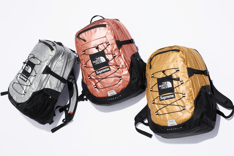 Supreme x The North Face Metallic Spring 2018 Collection Gold Silver Rose Gold Mountain Parka Roo II Bag Backpack Sling Bag Overalls Bib Pants T-Shirt Hooded Sweatshirt