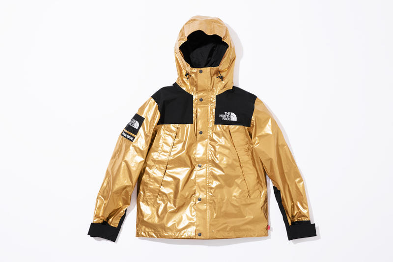 c53cb407 Supreme x The North Face Metallic Spring 2018 Collection Gold Silver Rose  Gold Mountain Parka Roo