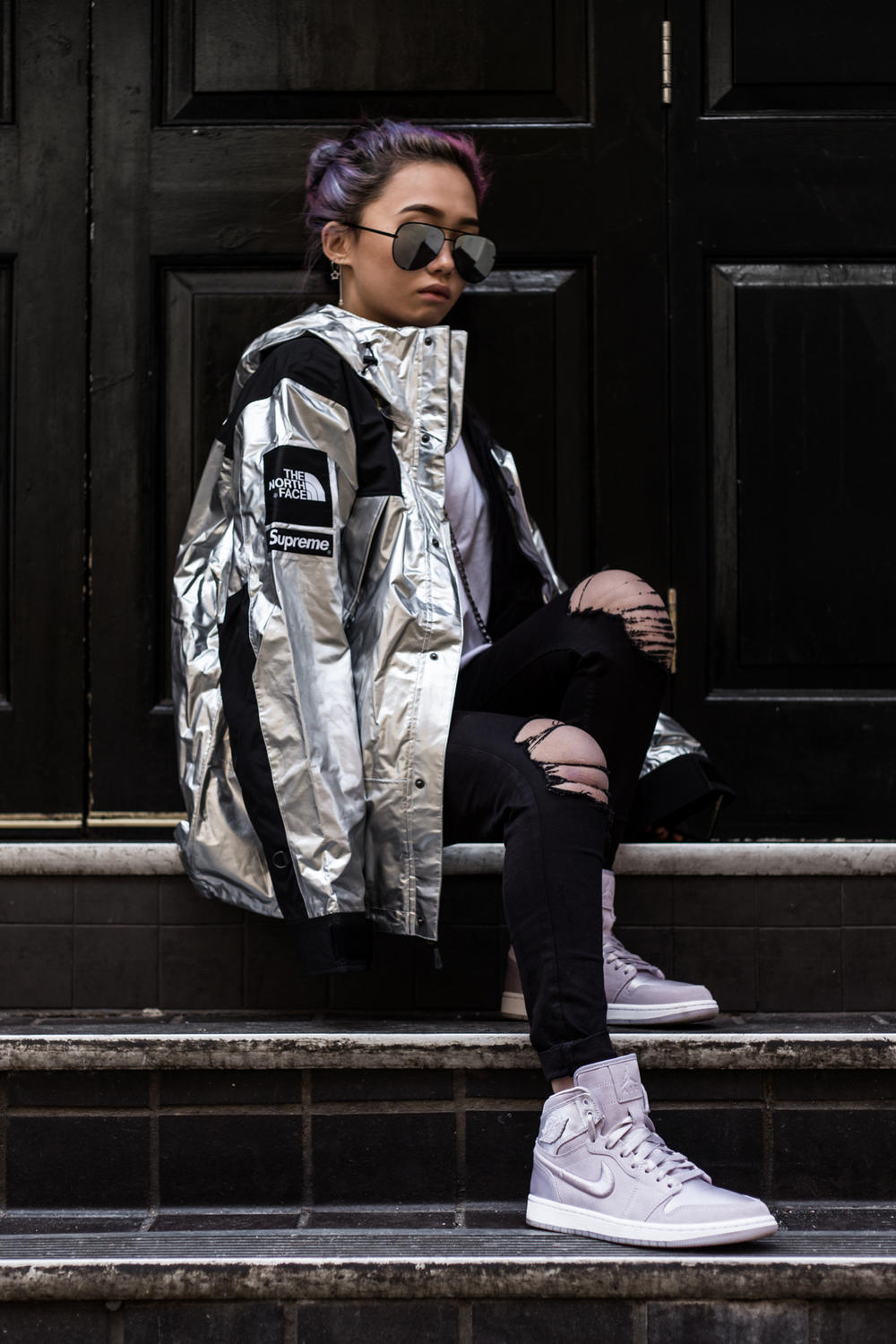 Supreme The North Face Spring/Summer 2018 Streetsnaps Street Style London Paris Tokyo New York Store Release Drop Soho Clothing For Sale Buy Shop Online Metallic