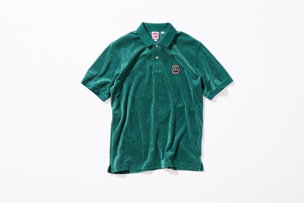 Supreme x Lacoste Spring 2018 Collection Shirts Polos René Lacoste French Paris Tennis Supreme New York Fashion Streetwear Bucket hats Bum Bags Valour Track Pants Track suit 3m reflective varsity jacket