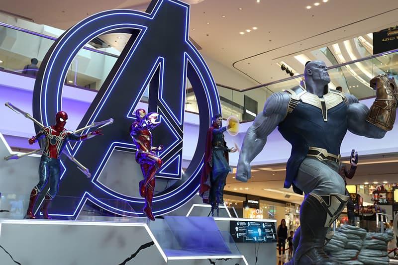 Marvel Studios Avengers Infinity War Hong Kong Exhibition Guardians of the Galaxy Spider-Man Ironman Thor Starlord War Machine Groot Thanos Black Widow Black Panther Gauntlet Hulk Buster Rocket Racoon Festival Walk Full Look