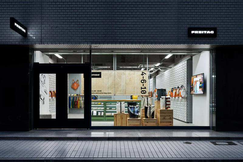 TORAFU ARCHITECTS FREITAG Osaka Store Kiosk Outfitter Shop Store Colorful Messenger Bags Accessories Wooden Steel Furniture Industrial Atmosphere
