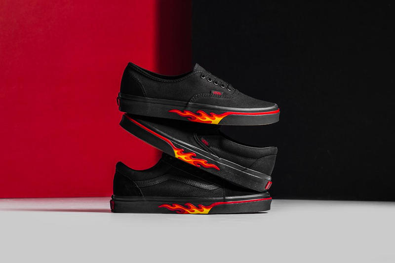 c82b806fe98 Vans Flame Wall Collection Authentic Slip-On Old Skool black red yellow  release info