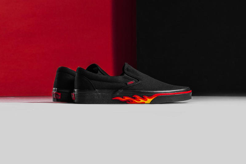 e55001d7ee Vans Flame Wall Collection Authentic Slip-On Old Skool black red yellow  release info