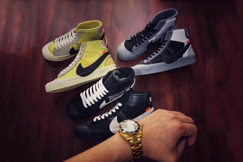 Virgil Abloh Nike Blazer Mid Off White Grey Colorway Black Colorway Neon Yellow Colorway The Ten Collaboration For Sale Pricing Availability