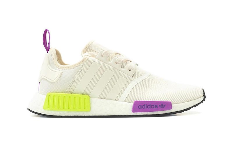 new arrival dea96 326dc adidas NMD R1 Chalk White Semi Solar Yellow purple release info sneakers  footwear
