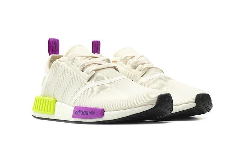 adidas NMD R1 Chalk White Semi Solar Yellow purple release info sneakers footwear